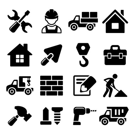 Photo pour Construction Icons Set on White Background  Vector illustration - image libre de droit
