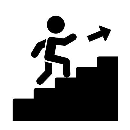 Ilustración de Man on Stairs Going Up Icon  Vector illustration - Imagen libre de derechos