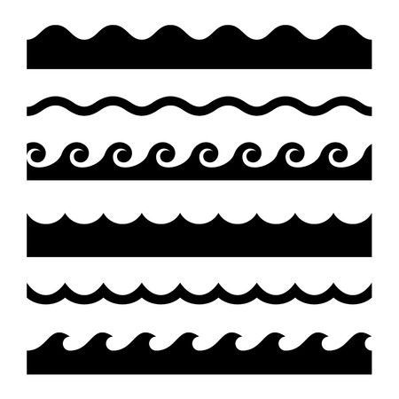 Illustration pour Seamless Wave Pattern Set. - image libre de droit