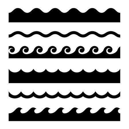 Ilustración de Seamless Wave Pattern Set. - Imagen libre de derechos