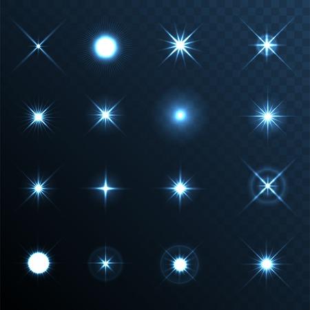 Ilustración de Light Glow Flare Stars Effect Set - Imagen libre de derechos