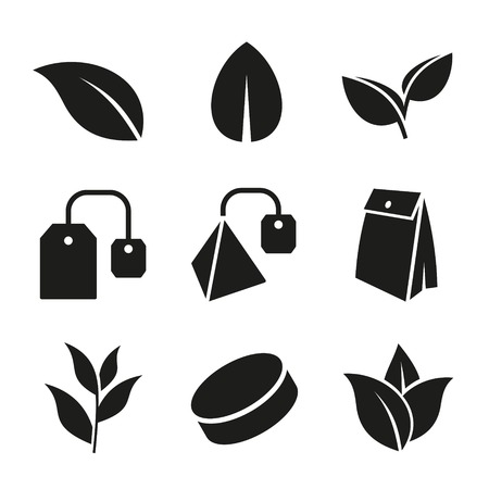 Illustration for Tea Leaf and Bags Icons Set on White Background. Vector - Royalty Free Image