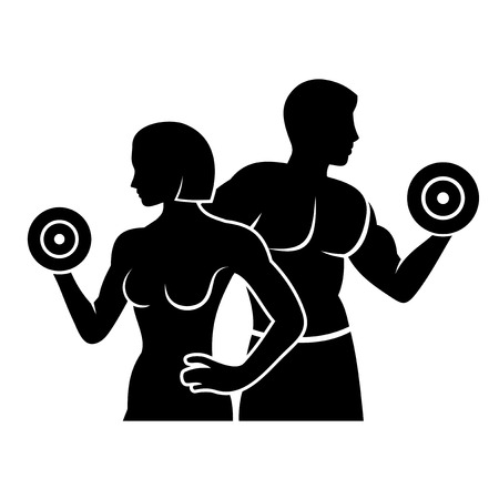 Illustration pour Man and Woman Fitness Silhouette Vector Logo Icon - image libre de droit