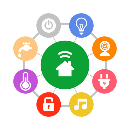 Illustrazione per Smart Home System Icons Set Flat Design Style. Vector - Immagini Royalty Free