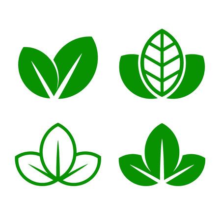 Illustration for Eco Green Leaf Icon Set. Vector illustration - Royalty Free Image