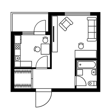 Illustration pour Floor Plan of a House with Furniture. Vector illustration - image libre de droit