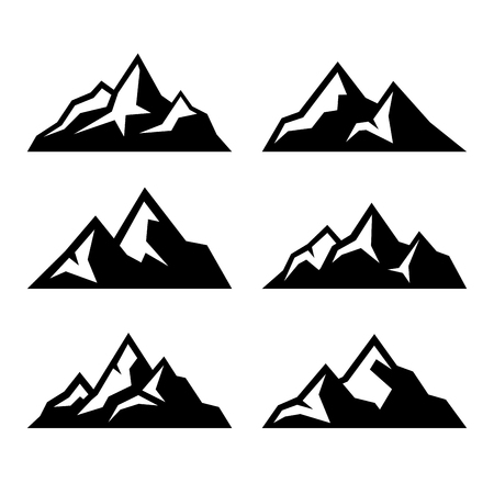 Illustration pour Mountain Icons Set on White Background. Vector illustration - image libre de droit