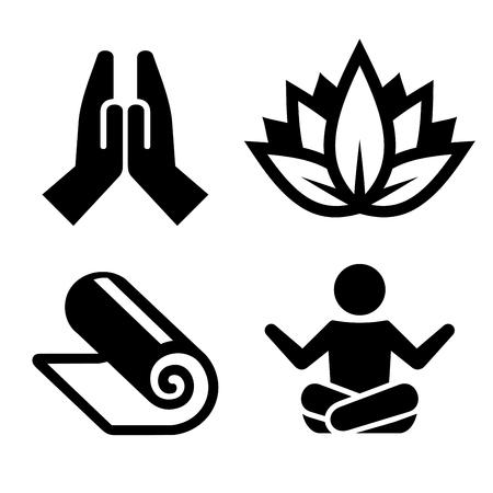 Ilustración de Yoga Icons Set for Spa Center. Vector illustration - Imagen libre de derechos