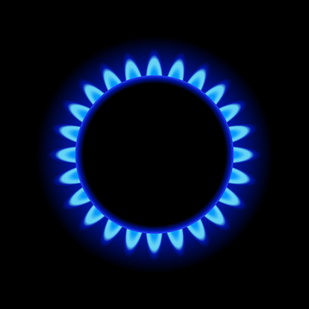 Illustration for Burner Gas Ring with Blue Flame on Dark Background.  - Royalty Free Image