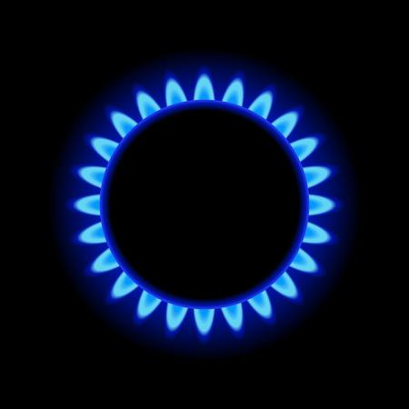 Illustration pour Burner Gas Ring with Blue Flame on Dark Background.  - image libre de droit