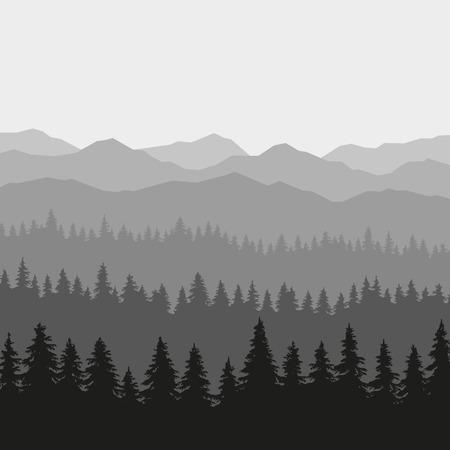 Illustration pour Coniferous Forest and Mountains Background. illustration - image libre de droit