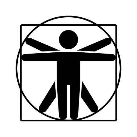 Ilustración de Leonardo da Vinci Vitruvian Man Sign Logo. Stick Style Icon. Vector Illustration - Imagen libre de derechos