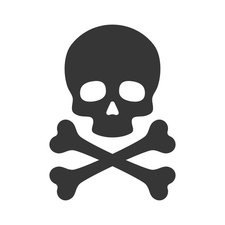 Ilustración de Skull and Crossbones Icon on White Background. Vector illustration - Imagen libre de derechos