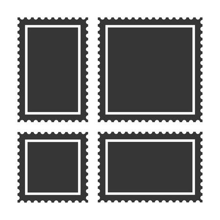 Illustration pour Blank Postage Stamps Set on White Background. - image libre de droit