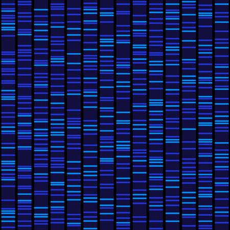 Ilustración de Blue Dna Sequence Results on Black Seamless Background. Vector - Imagen libre de derechos