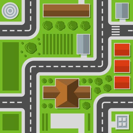 Illustration pour City Top View. Town Map Seamless Pattern. Vector Illustration - image libre de droit