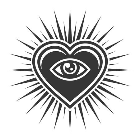 Illustration pour Eye Inside Heart Sign. Masonic Icon on White Background. Vector illustration - image libre de droit