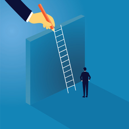 Ilustración de Business Challenge Concept. Businessman Climb Ladder on High Wall - Imagen libre de derechos