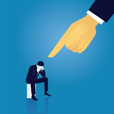 Illustration pour Vector illustration. Business failure guilty concept. Businessman frustrated sad down thinking of his fault, sitting while pointing finger of giant leader hand directing on him - image libre de droit