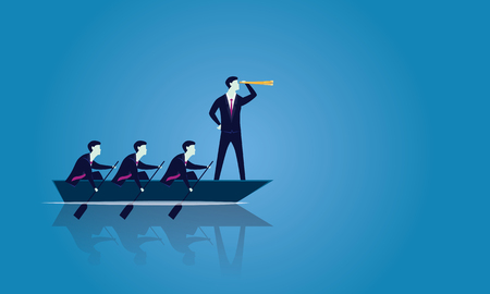 Ilustración de Vector illustration. Business teamwork leadership concept. Businessmen working in team, Group of people rowing boat together moving forward. Leader looking for success with telescope, visionary, motivating his team - Imagen libre de derechos