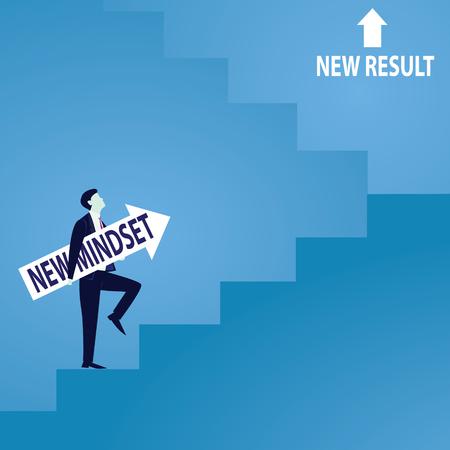 Illustration pour Businessman climb success ladder - image libre de droit