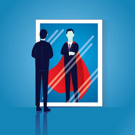 Ilustración de Vector illustration of businessman facing his inner super strength in the mirror. Self confidence. - Imagen libre de derechos