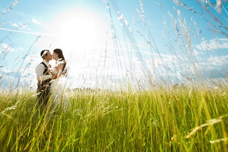 Foto de Beautiful bride and groom standing in grass and kissing. Wedding couple fashion shoot. - Imagen libre de derechos