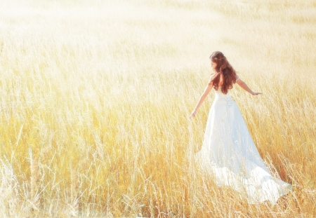 Photo for woman walking in the sunny meadow on summer day touching grass - Royalty Free Image