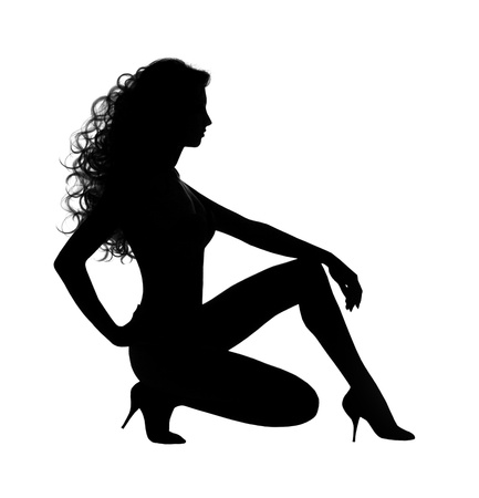 Photo for woman sexy silhouette over white  background - Royalty Free Image
