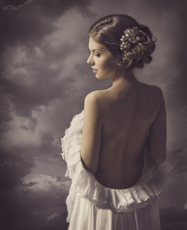 Photo for Woman sensual retro portrait, girl back, elegant artistic vintage style makeup - Royalty Free Image