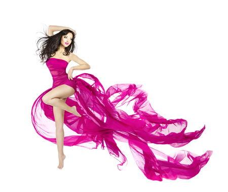 Photo pour Woman dancing in fluttering dress, fashion model dancer with waving fabric, isolated white  - image libre de droit