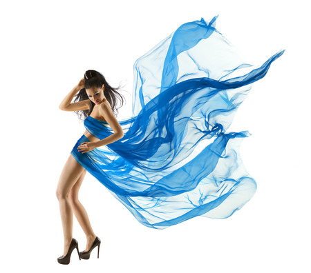 Photo for Woman Sexy Dancing in Blue Dress. Fashion Model dance with Waving fluttering Fabric. Long legs. White Isolated Background  - Royalty Free Image
