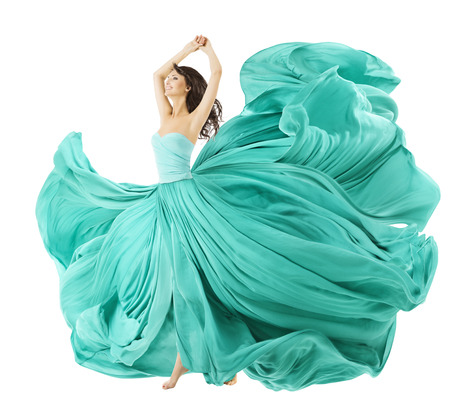 Photo pour Woman Dancing In Fashion Dress, Fabric Cloth Waving On Wind, Flying Girl In Fluttering Gown And Flowing In Motion. Isolated Over White Background - image libre de droit