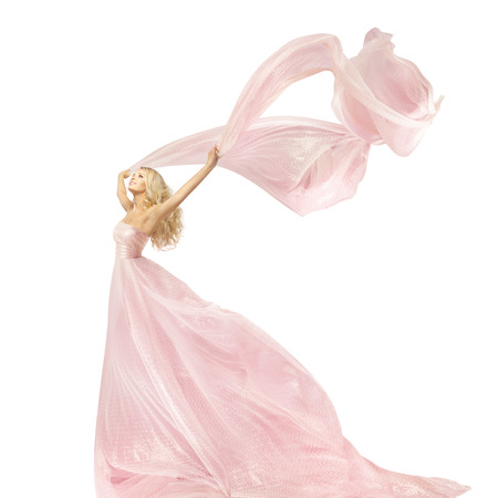 Photo for Woman Beauty Fashion Dress, Girl In Silk Gown Waving On Wind Fabric, Model With Long Flying Fluttering Cloth, Isolated Over White Background - Royalty Free Image