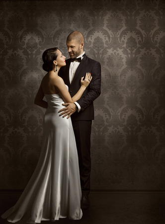 Photo for Couple Retro Man and Woman in Love, Fashion Beauty Portrait of Models Embracing over Vintage Background - Royalty Free Image