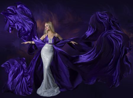 Photo for Woman Beauty Dress Flying Purple Silk Cloth, Lady Creative Fashion Gown Flowing and Waving on Wind, Beautiful Girl Elegant Portrait - Royalty Free Image