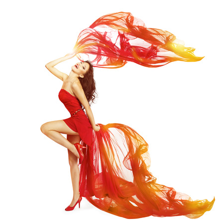 Photo for Woman Dancing in Red Dress, Cloth Flying Waving on Wind, Dance Girl Isolated Over White Background - Royalty Free Image