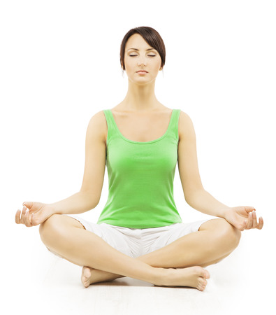 Photo for Yoga Woman in Meditation Sitting in Lotus Pose. Female Meditating Exercise Isolated Over White Background - Royalty Free Image
