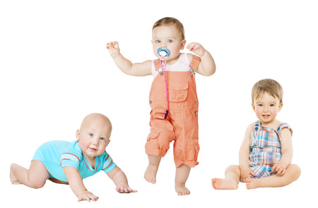 Photo for Children Active Growth Portrait, Little Kids from 6 months to 1 year old, Baby Activity Crawling Sitting and Standing Boy - Royalty Free Image