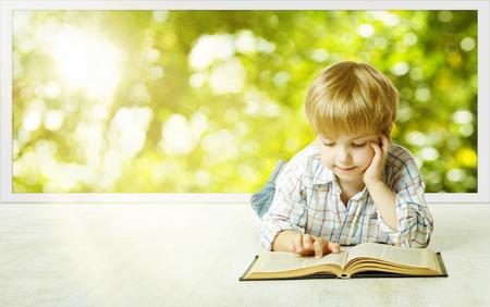 Foto de Young Child Boy Reading Book, Children Early Development, Small Kid School Education, Study and Knowledge Concept - Imagen libre de derechos