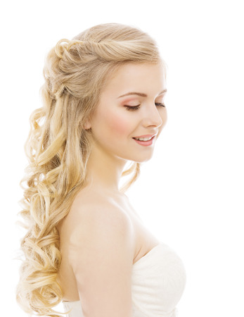 Photo for Woman Beauty Makeup Long Hair, Young Girl with Blond Curly Hairstyle, Model Fashion Portrait, Isolated over White Background - Royalty Free Image