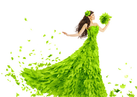 Photo for Woman Green Leaves Dress Fantasy Creative Beauty Floral Gown Spring and Summer Fashion Season Concept over White Background - Royalty Free Image