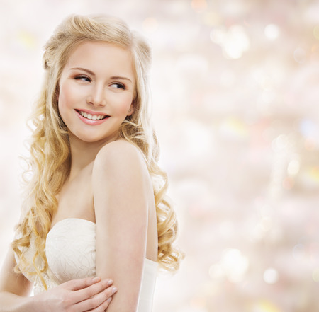 Photo for Woman Blond Long Hair, Fashion Model Portrait, Smiling Young Girl Looking over Shoulder, Beauty Makeup and Hairstyle - Royalty Free Image
