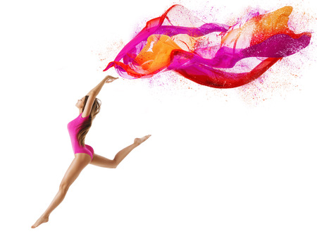 Photo pour Woman Jump in Sport Leotard, Girl Dancer with Fly Pink Cloth, Slim Gymnast Posing on White background - image libre de droit