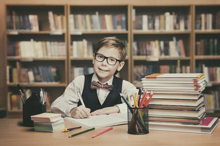 Photo pour School Kid Education, Student Child Write Book, Little Boy in glasses, Vintage Classroom - image libre de droit