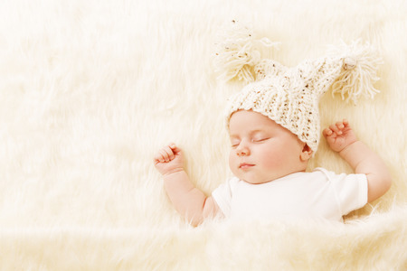 Photo for Baby Sleeping, Newborn Kid Portrait Asleep in Hat, New Born on Blanket, One Month Girl Sleep in Bed - Royalty Free Image