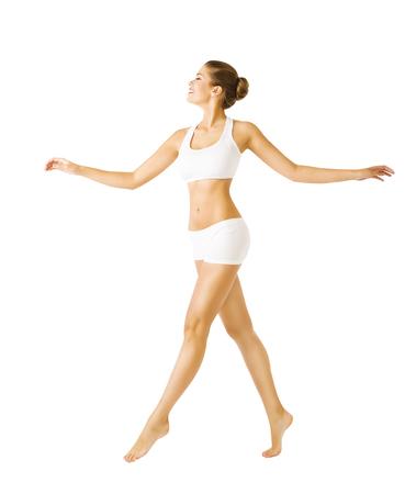 Photo pour Woman Walking Side View, Sexy Girl in Cotton Underwear, People on White - image libre de droit