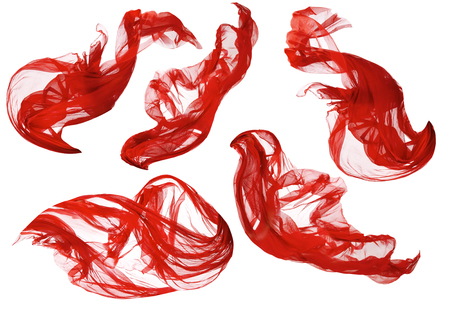 Foto per Fabric Flowing Cloth Wave, Red Waving Silk Flying Textile, Satin on White Isolated Background - Immagine Royalty Free