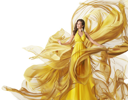 Photo for Fashion Model Dress, Woman in Flowing Fabric Gown, Clothes Flow on Wind, White Yellow - Royalty Free Image