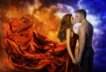 Photo for Couple in Love, Hot Fire Woman and Cold Man, Romantic Girl Kiss Lover - Royalty Free Image
